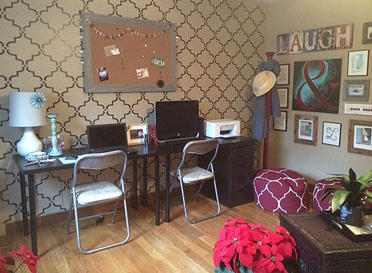 refinished folding chairs as desk chairs in a home office