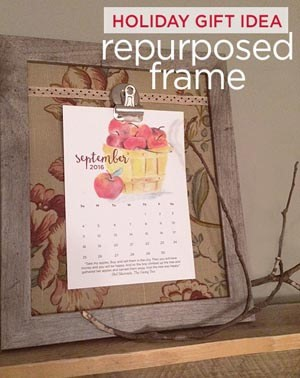 greco design repurposed frame holiday gift idea with calendar