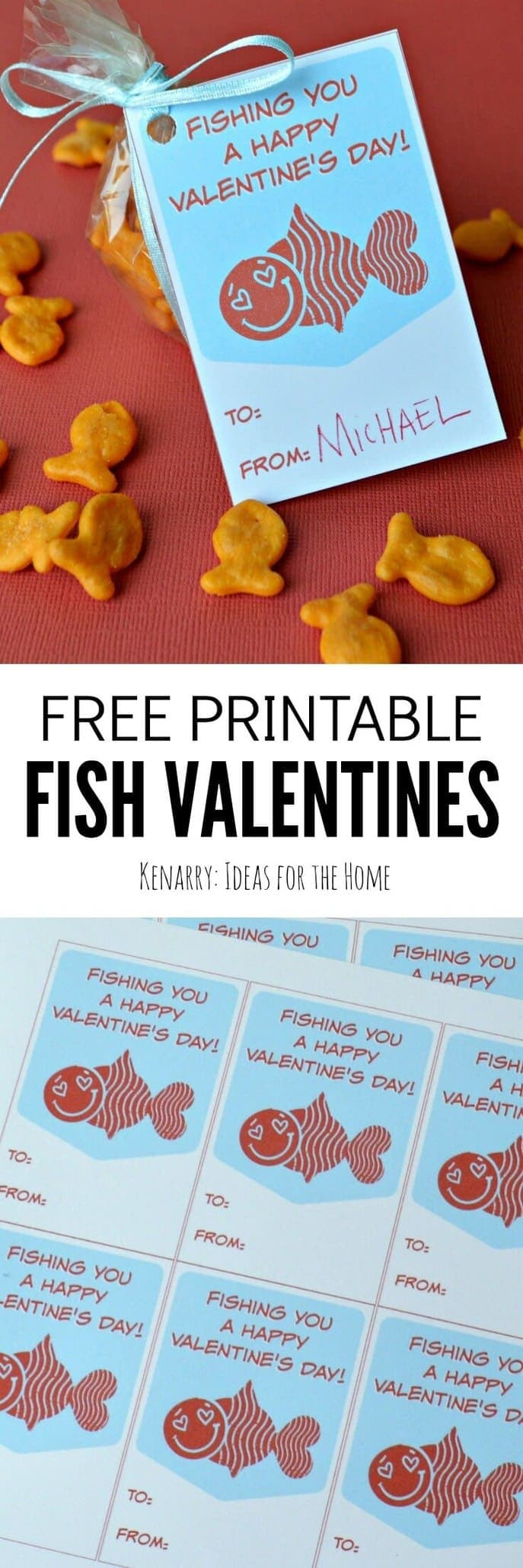 These free printable fish valentines are so cute! Your child can use these cards on their own or attach to a bag of fish crackers for a Valentine's Day treat.