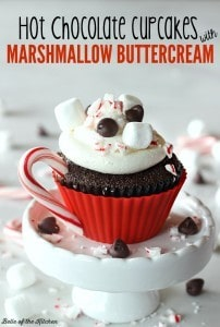 Hot Chocolate Cupcakes with Marshmallow Buttercream