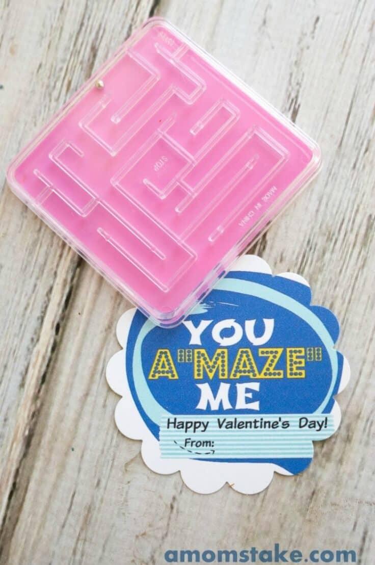 "A ""Maze"" Valentine Card Printable - A Mom's Take - Kids Valentine Cards featured on Kenarry.com"