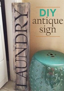 DIY antique sign how to tutorial