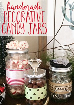 Decorative Candy Jars from up cycled glass food jars