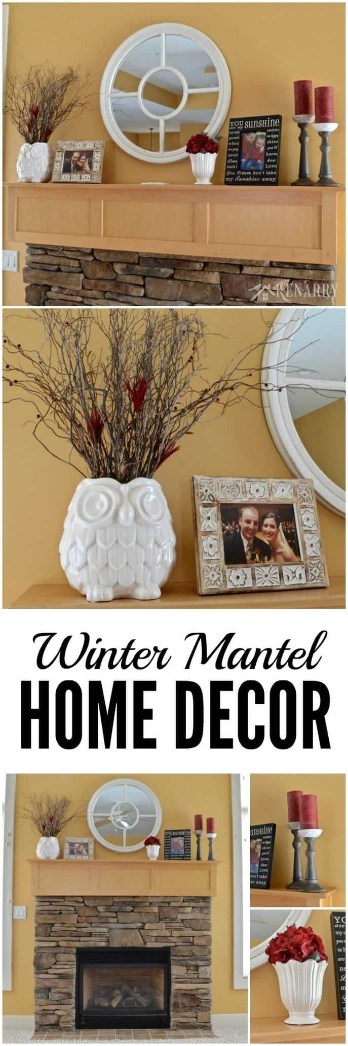 Love these winter mantel decor ideas to update a fireplace for winter with white and red home accents!