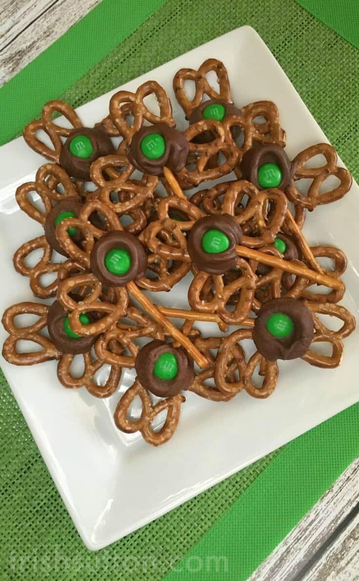 Bowl of Pretzel Shamrocks treats for St. Patrick's Day