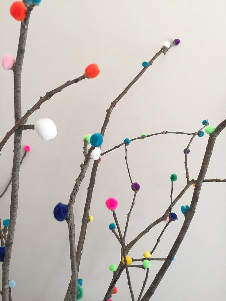 detail of pom pom spring buds on twigs