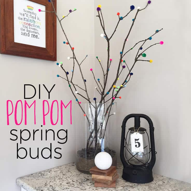 DIY pom pom spring buds with twigs