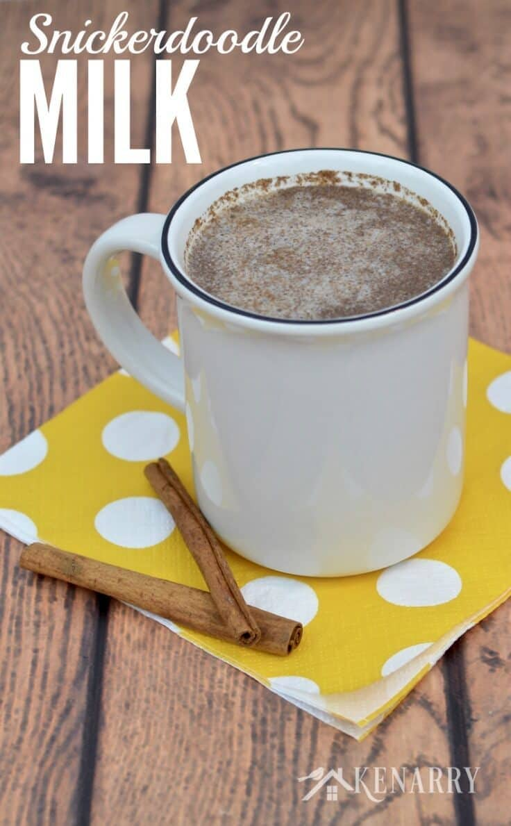 Warm Snickerdoodle Milk is an easy hot beverage to make instead of hot cocoa to warm up on a cold winter or fall day. This healthy sugar free and caffeine free recipe uses cinnamon and vanilla to create a delicious drink the kids will love. #snickerdoodles #hotchocolate #kenarry