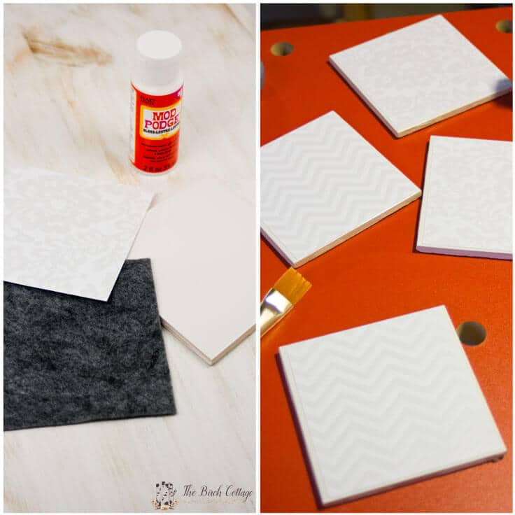 The Birch Cottage shares how to make coasters from ceramic tiles, Mod Podge, felt and a waterproof sealant. The perfect DIY decor accessory or handmade gift!