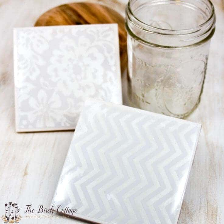 These coasters are made from ceramic tile, mod podge, felt and a waterproof sealant. The perfect DIY decor accessory or handmade gift!