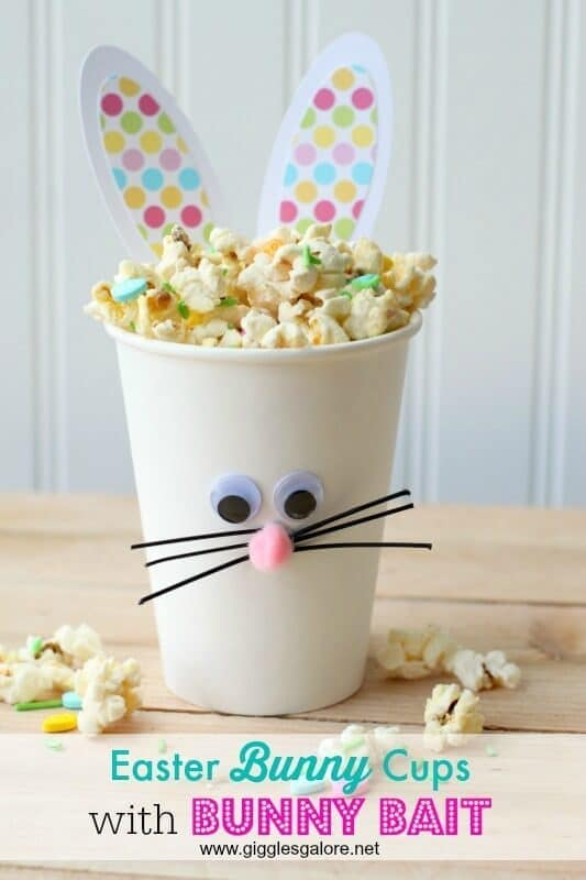 Easter Bunny Cups and Bunny Bait - Giggles Galore - Easter Treats featured on Kenarry.com