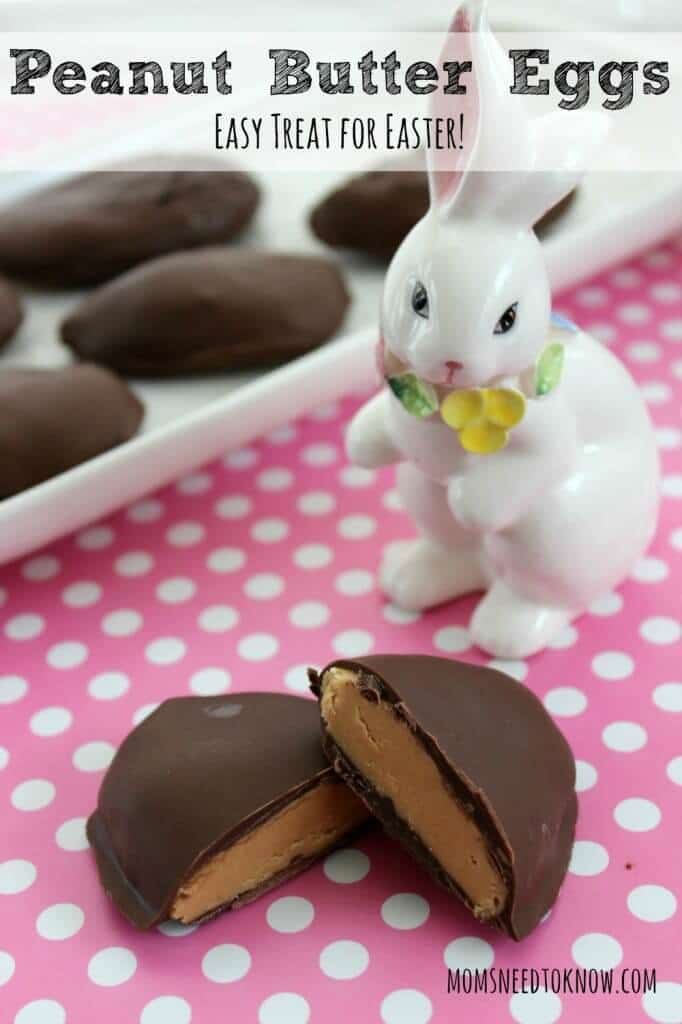 Peanut Butter Cup Eggs Easy Easter Recipe - Moms Need to Know - Easter Treats featured on Kenarry.com
