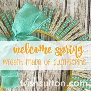 A Simple Spring Wreath made out of Clothespins and Craft Tape.