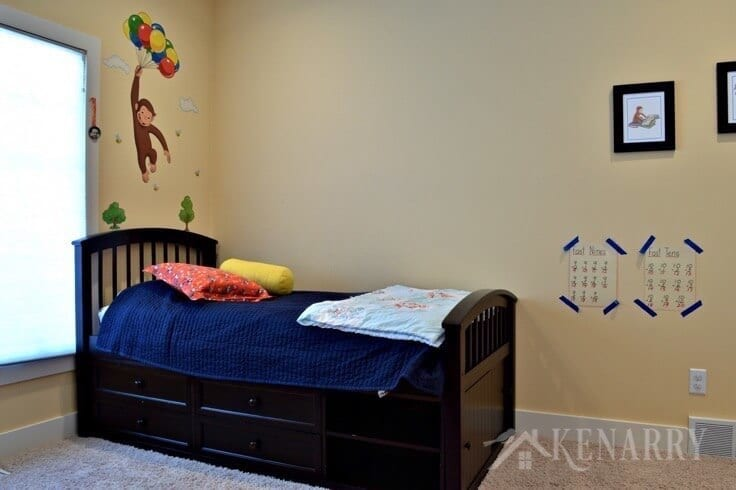 Boys bedroom plans involve removing the Curious George decal and painting the walls including a outer space theme mural.