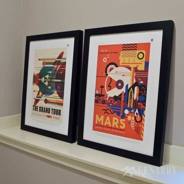 These NASA Posters are so cool! You can download them for free and then print for your own personal use through online services like Minted. They are a great idea to inspire home decor for a boys outer space bedroom.