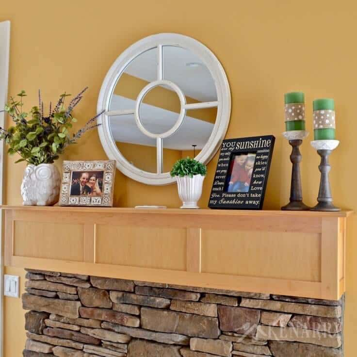 Love these spring mantel decor ideas to update a fireplace for winter with refreshing spring green and purple home accents!