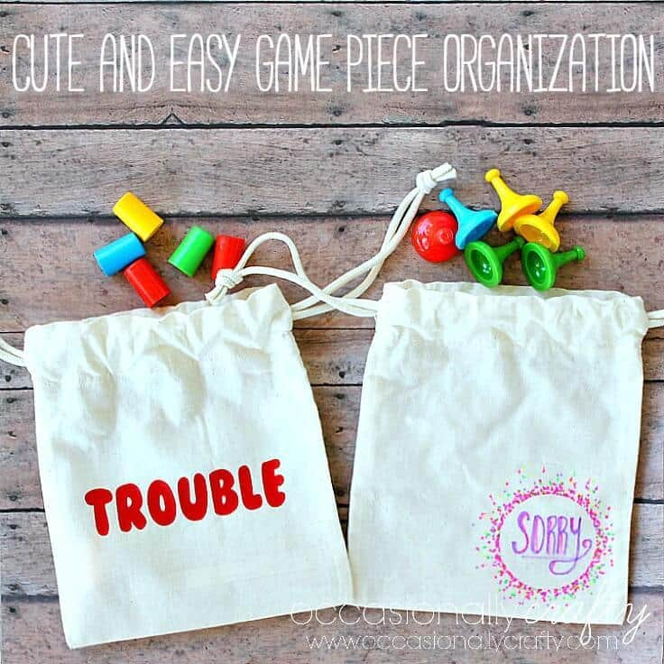 Cute and Easy Game Piece Organization in DIY drawstring bags