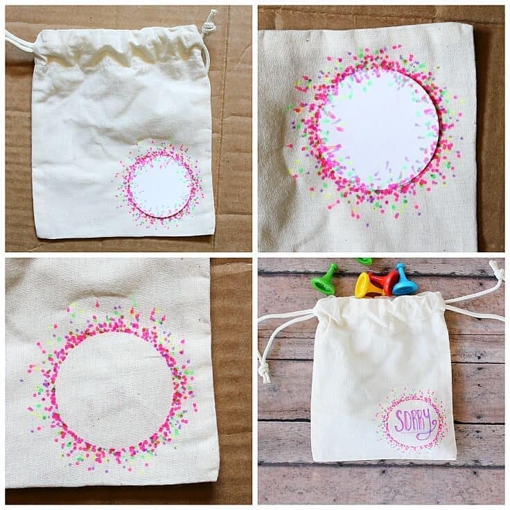 Drawstring Bag Game Piece Holder with Fabric Marker Decoration