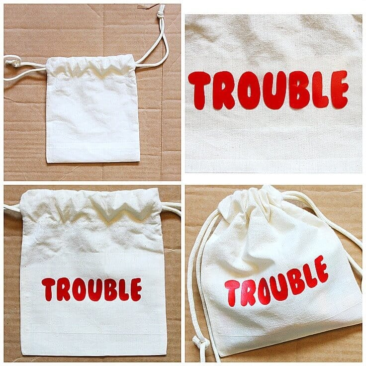 Trouble Game Piece Bag with HTV