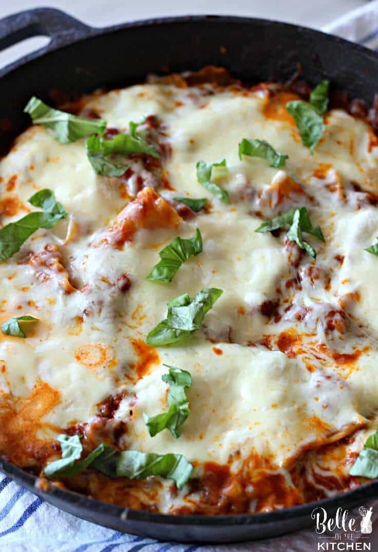 This skillet lasagna is sure to become a new family favorite! It's everything you love about lasagna, but made simple and easy for a quick weeknight dinner!