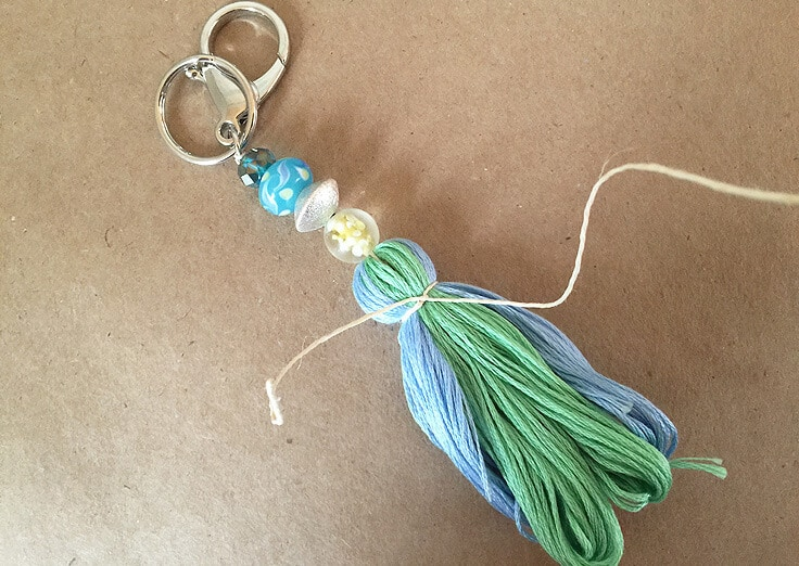 DIY kassel keychains with beads and embroidery thread
