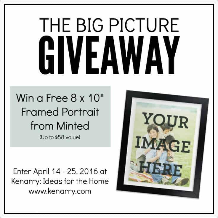 """Enter to win the Big Picture Giveaway at Kenarry.com for a free 8 x 10"""" framed portrait from Minted. The giveaway runs April 14 - 25, 2016."""