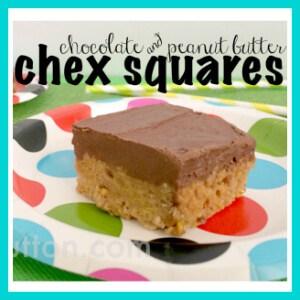 Chocolate & Peanut Butter Chex Squares Recipe by Trish Sutton, trishsutton.com