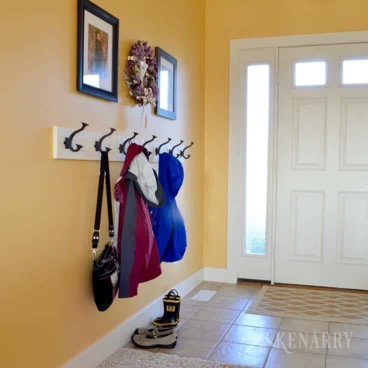 DIY coat rack in the entryway
