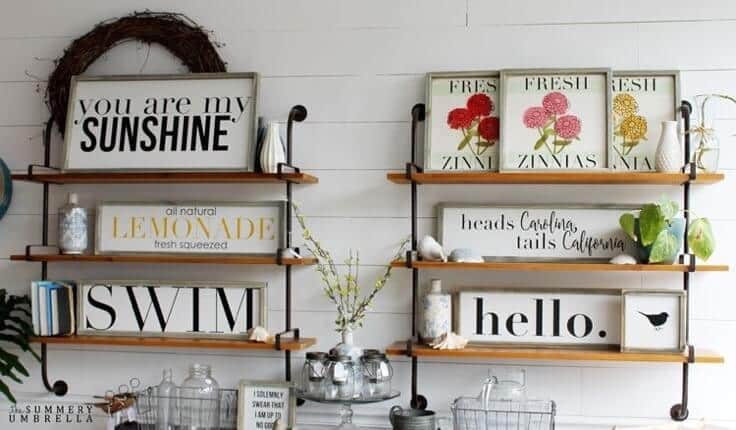 These signs are part of the Summer Sign Collection from The Summery Umbrella which offers rustic home decor with a twist of modern appeal.