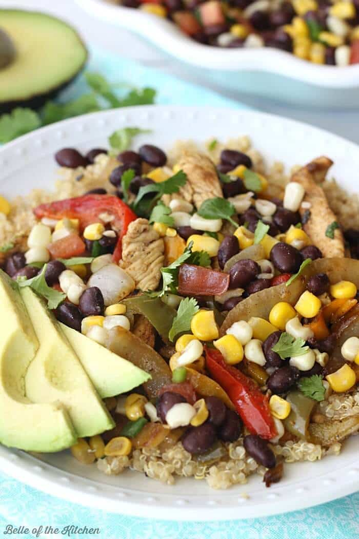 Skillet Chicken Fajita Quinoa Bowls