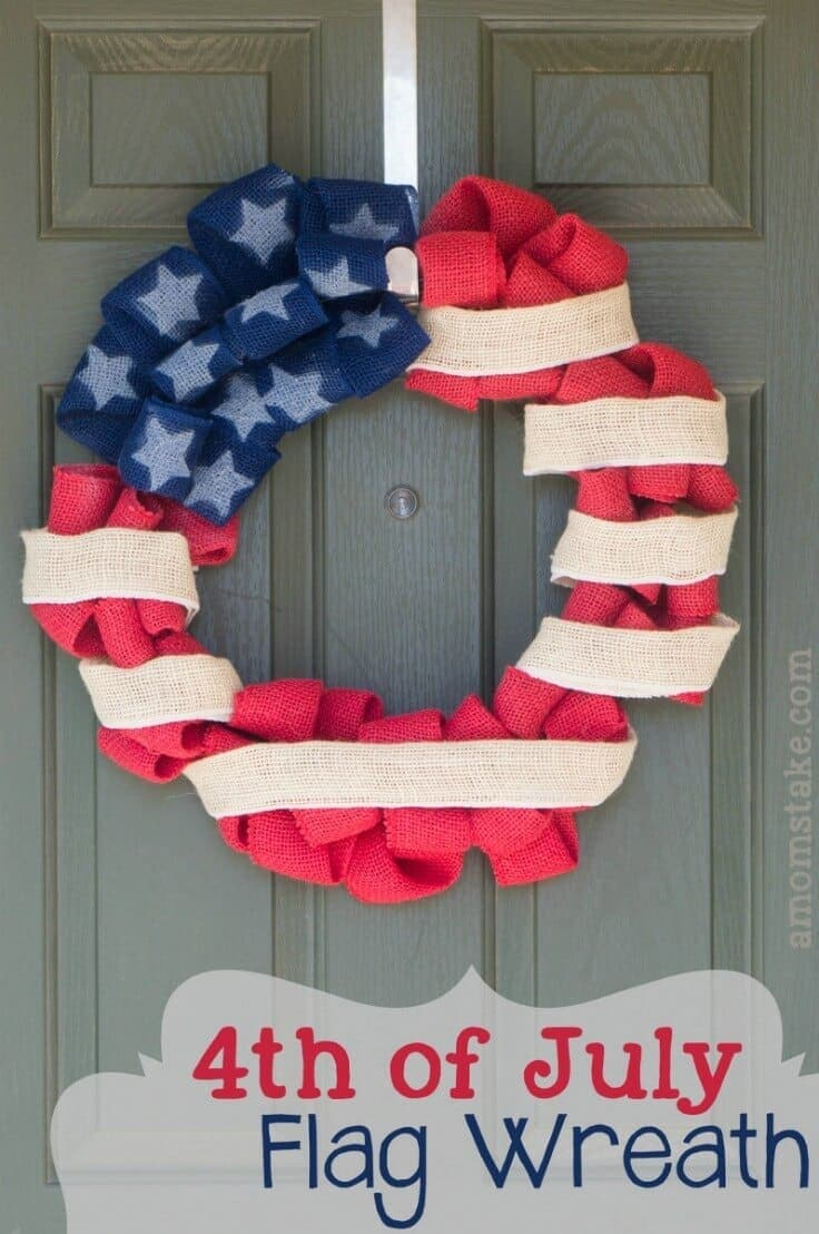 4th of July Patriotic Flag Wreath Tutorial – A Mom's Take - 4th of July Wreaths featured on Kenarry.com