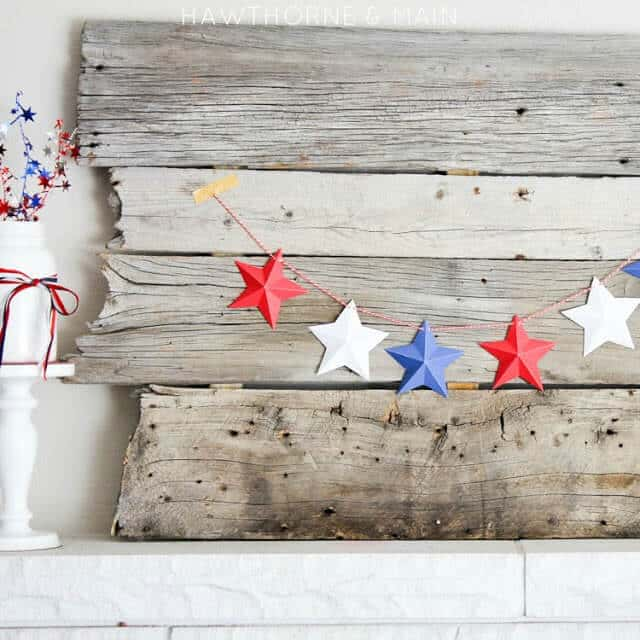 Mini 3D Star Garland – Hawthorne and Main - 4th of July Party Decor featured on Kenarry.com