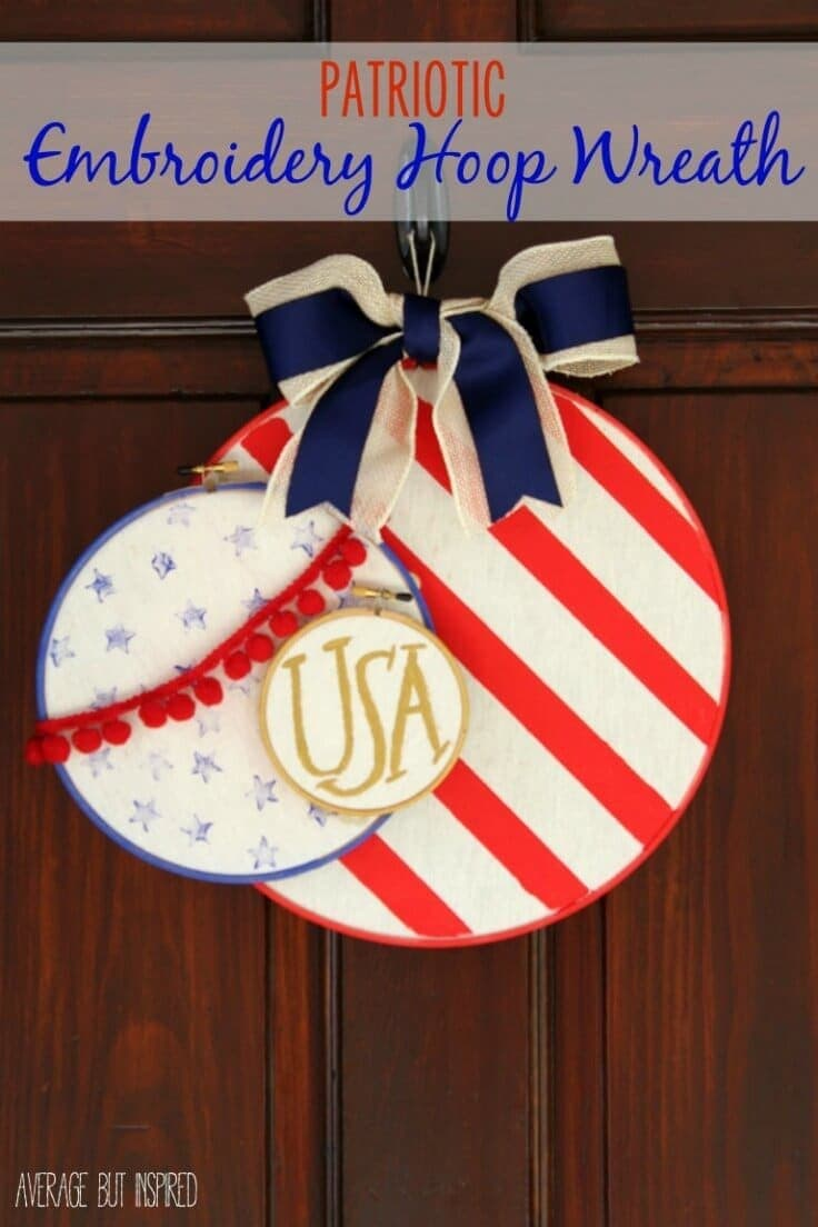 Patriotic Embroidery Hoop Wreath – Average But Inspired - 4th of July Wreaths featured on Kenarry.com