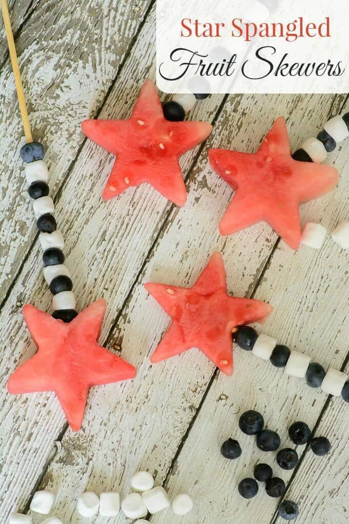 Star Spangled Fruit Skewers – Almost Supermom - Patriotic Treats for 4th of July featured on Kenarry.com