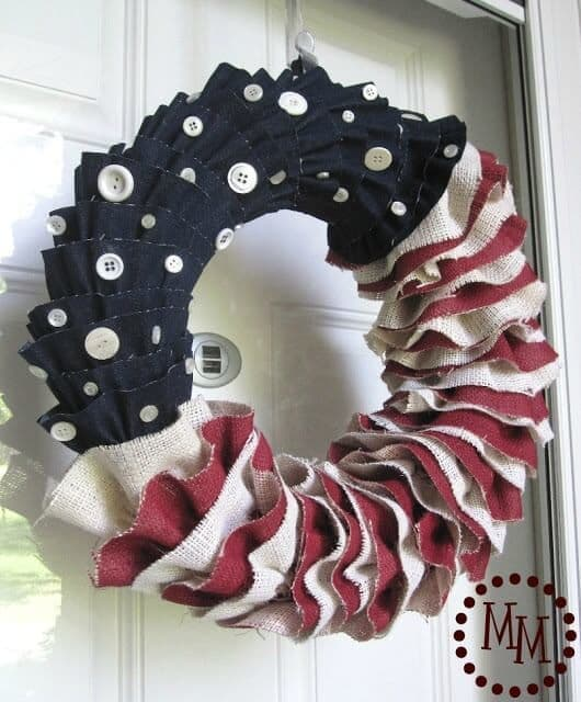 Burlap and Denim Ruffled Patriotic Wreath – The Scrap Shoppe - 4th of July Wreaths featured on Kenarry.com
