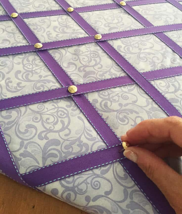 DIY ribbon bulletin board tacks