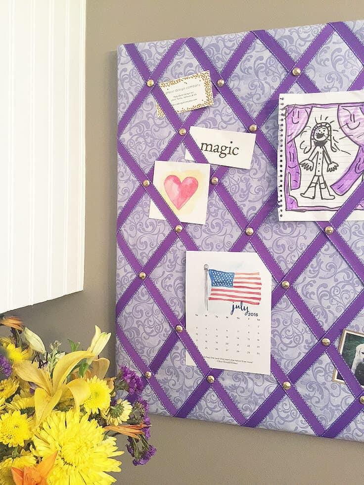 DIY ribbon bulletin board detail