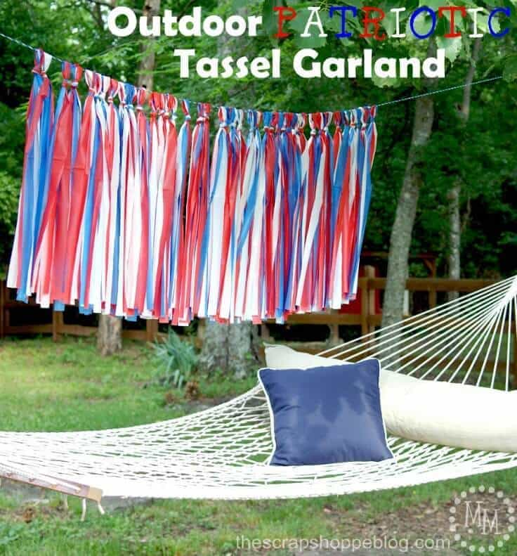 Outdoor Patriotic Tassel Garland – The Scrap Shoppe - 4th of July Party Decor featured on Kenarry.com