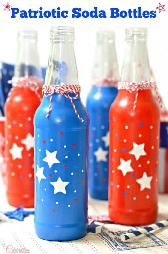Patriotic Soda Bottles – Little Miss Celebration - 4th of July Party Decor featured on Kenarry.com