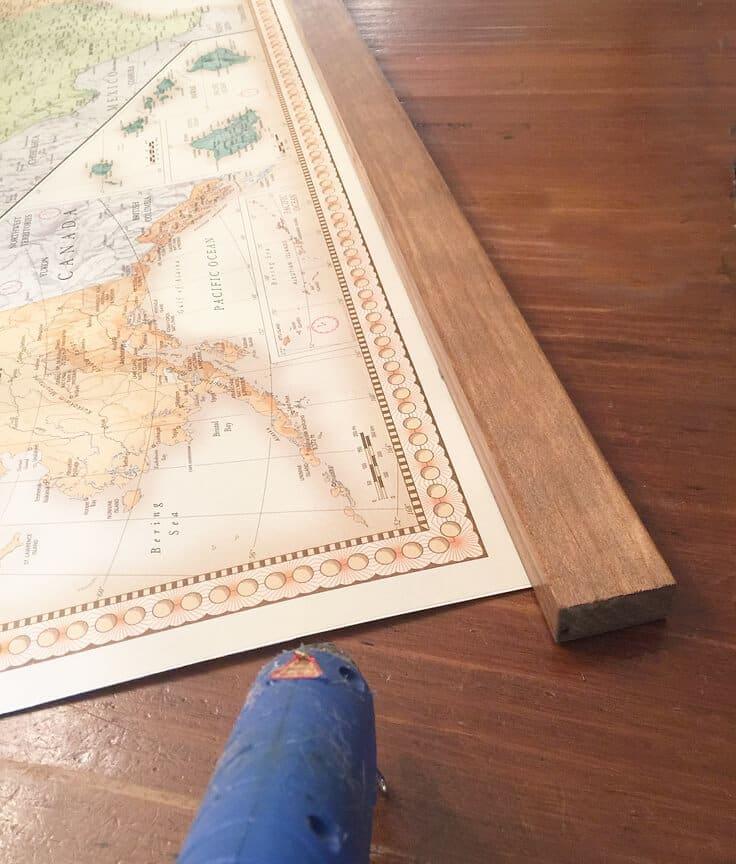 DIY hanging vintage map with wood