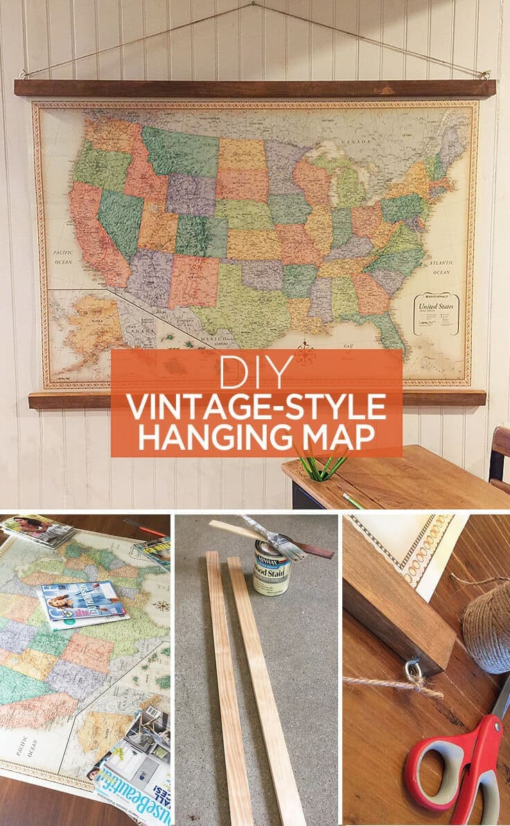 DIY vintage-style hanging map - great ideas to use as home decor or wall art for a home office or kids playroom. This would work great in a classroom or school too.