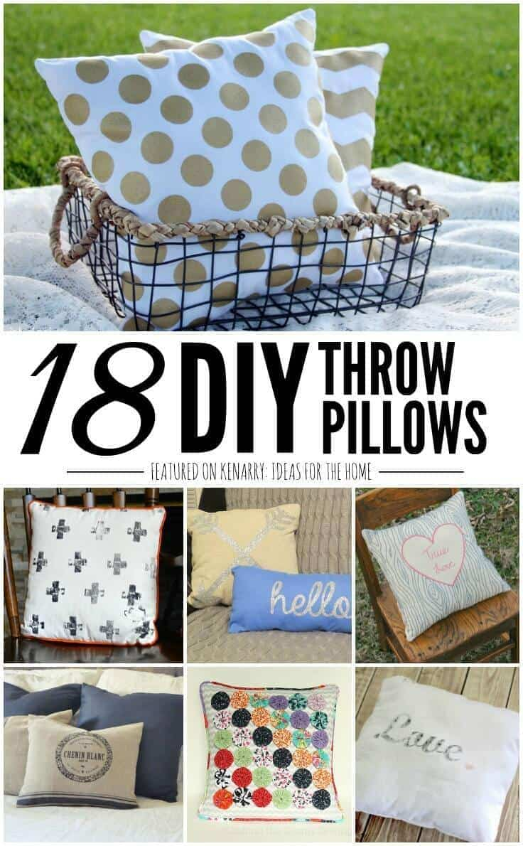 You'd be surprised how easy it is to make your own pillows with these 18 DIY Throw Pillow tutorials. Ideas include both no-sew and easy sewing ideas that anyone can do to make their home beautiful. Throw pillows add style, comfort and texture to any room in the home, especially bedrooms, living rooms and even outdoor spaces.