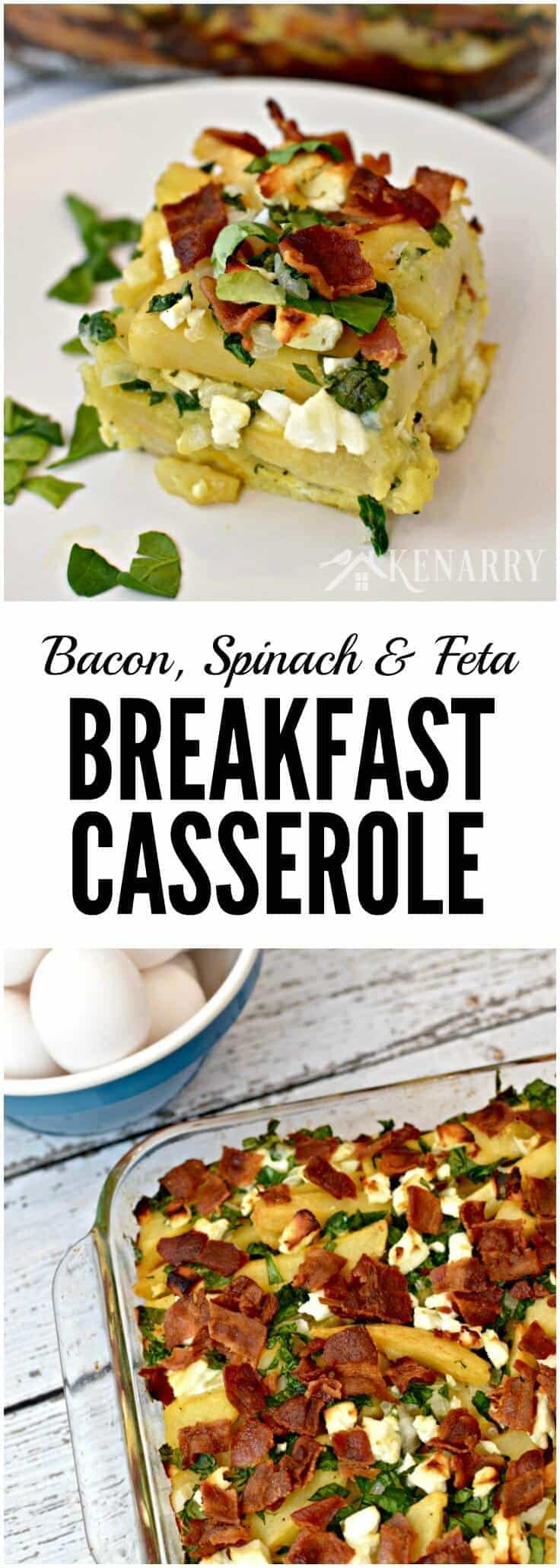 Bacon, spinach and feta breakfast casserole served on a white plate