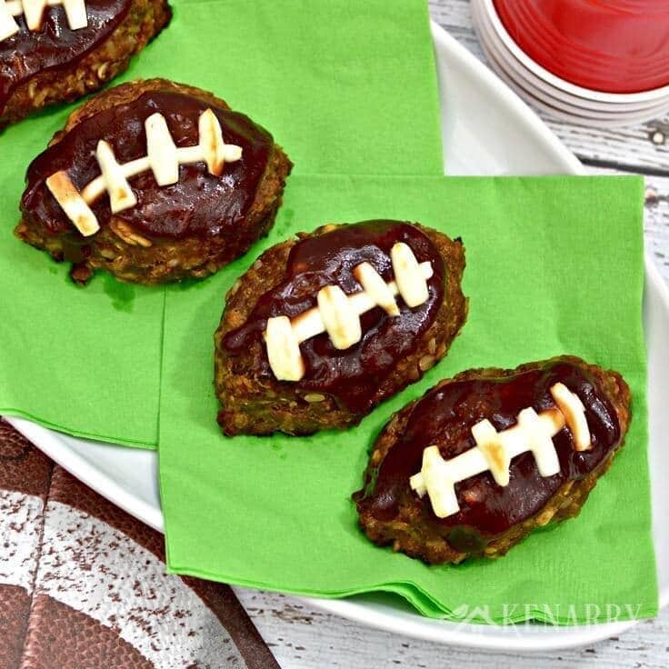 These little meatloaves shaped like a football are adorable! This barbecue meatloaf recipe sounds like a delicious idea for tailgating, a game day get together or a Super Bowl party!