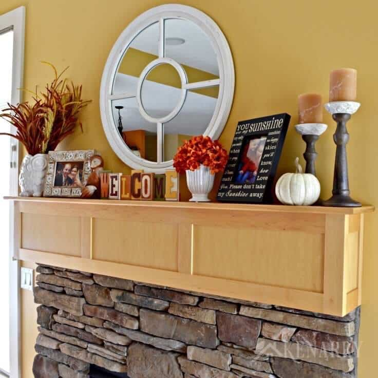 Love these fall mantel decor ideas to update a fireplace for autumn with pumpkin orange and harvest yellow accents! These easy ideas will have your living room ready for Halloween, Thanksgiving and all the fun events of the season.