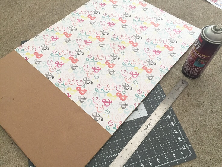 add temporary color backing to a cabinet with scrapbook papers