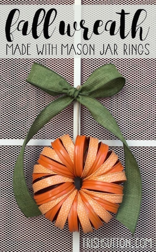 Fall Mason Jar Ring Wreath with Craft Tape. Ideas for the Home by Kenarry® By Trish Sutton