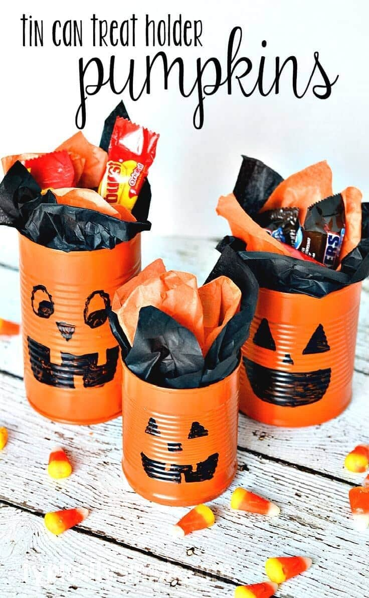 Tin Can Pumpkins Craft Tutorial, an easy idea for a Halloween activity for kids or a party centerpiece.