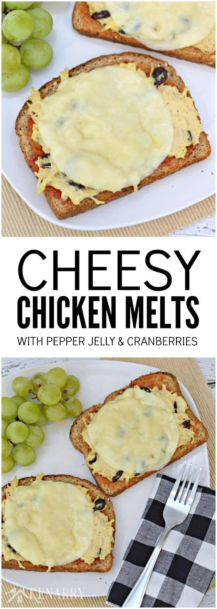 For an easy weeknight dinner idea, make this cheesy chicken melts recipe with canned chicken, red pepper jelly, dried cranberries and 100% real, natural sliced cheese from Sargento.