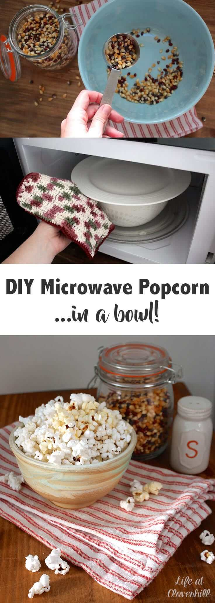 DIY Microwave Popcorn in a bowl is an easy, healthy and inexpensive alternative to microwave popcorn. Pop it in a bowl, add salt and butter, or get creative with your toppings!